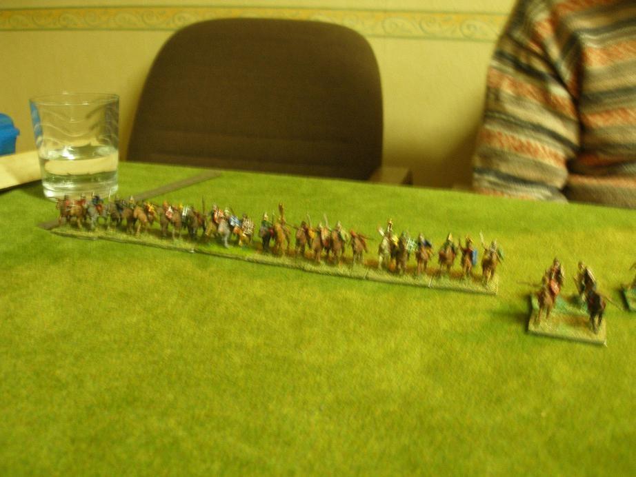 Die keltische Reiterei auf der rechten keltischen Flanke...