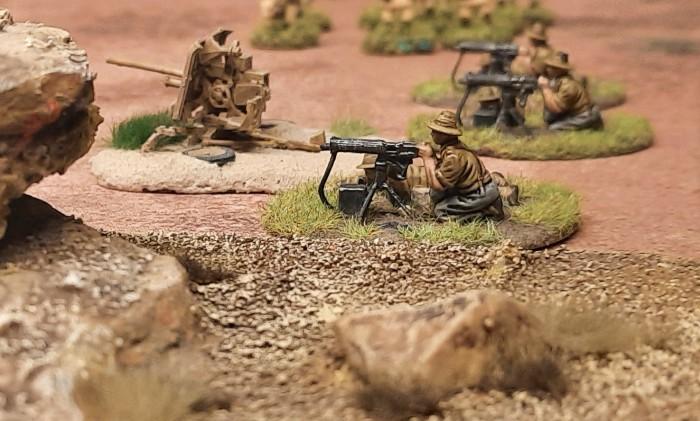 Eine HMG-Stellung des 25th Battalion der 7th Division (Australien)