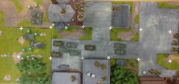 Ganz rechts: zwei T-34 sind durchgebrochen.
