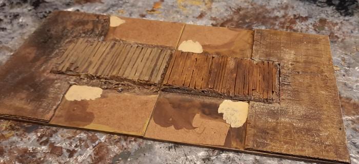 Einige seichte Stellen auf dem Terrain Tile sind markiert.