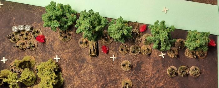 Ein Teil des Panzer-Grenadier-Regiment 110 wird vom Feuerschlag der Iwans erwischt und noch hinter der Rollbahn gepinnt.