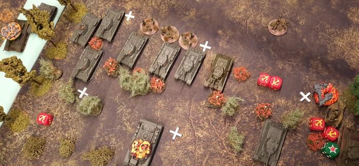 Die T-34/76 der 96. Panzerbrigade entscheiden das Spiel. Nicht durch ihre Feuerkraft, sondern durch Ihre Anzahl.