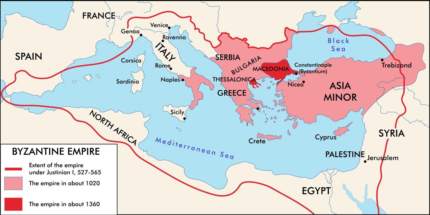 Karte: das byzantinische Reich. (Grafik: shutterstock - yfpro)