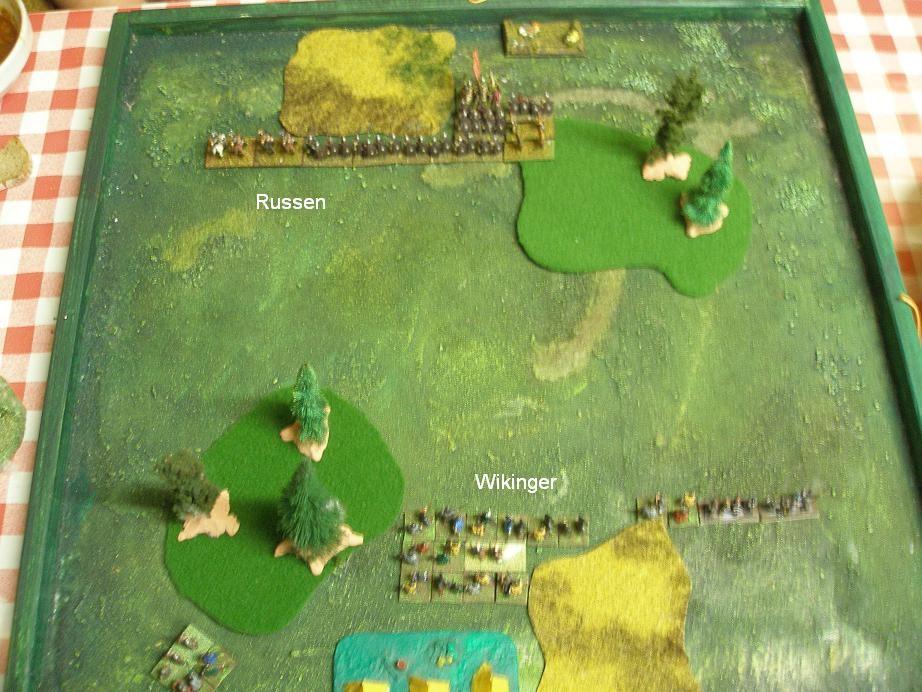 Startaufstellung der beiden Armeen der Wikinger und der Russen zur DBA-Battle im Käfertaler Wald.