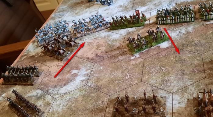 Hier greifen gerade stürmische Kavalleristen im Kallistra-Spiel die Frostlinge von XENA an. Im Gegenzug stürmen XENAs berittene Bogenschützen vor.