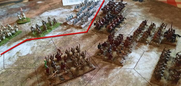 Die stürmische Armee geht auf breiter Front vor. Die rote Linie markiert die HKL.