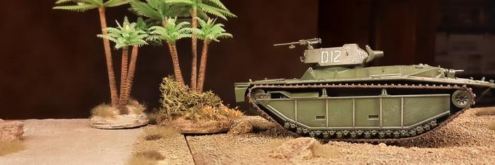 Der LVT(4)-A brettert gleich achtlos an den Palmen vorbei. Vermutlich ist er auf dem Weg zum nächsten Mäckes.