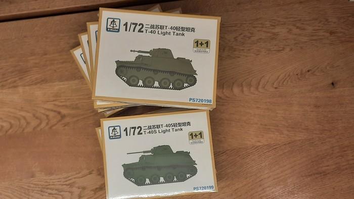 Die Schachteln der S-Model Schwimmpanzer T-40 / T-40S ( S-Model PS720198 / PST20199 )