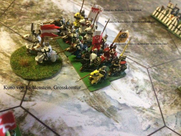 Kuno von Lichtenstein, der Großkomtur des Ordens. Er führte unter dem österreichischen Banner Kreuzfahrer aus ganz Europa an, denn es waren sehr viele österreichische Ritter zur Schlacht gekommen. Hier unter anderen der Herzog von Oelz.