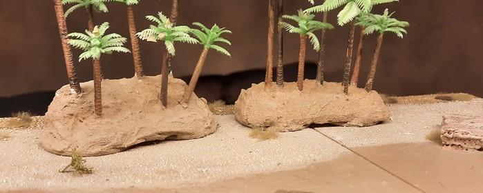 Probestellen der beiden Palmenwäldchen am nordafrikanischen Strand... (meine 15cm x 15cm großen Sarissa-liken Terrain-Tiles)