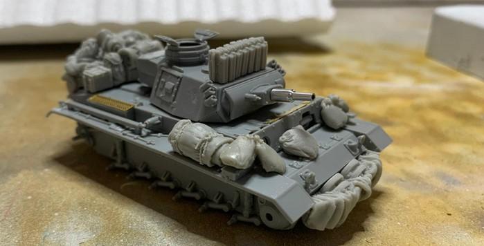 Man beachte auch die eingesetzte Metallgeschützrohr des Panzer III