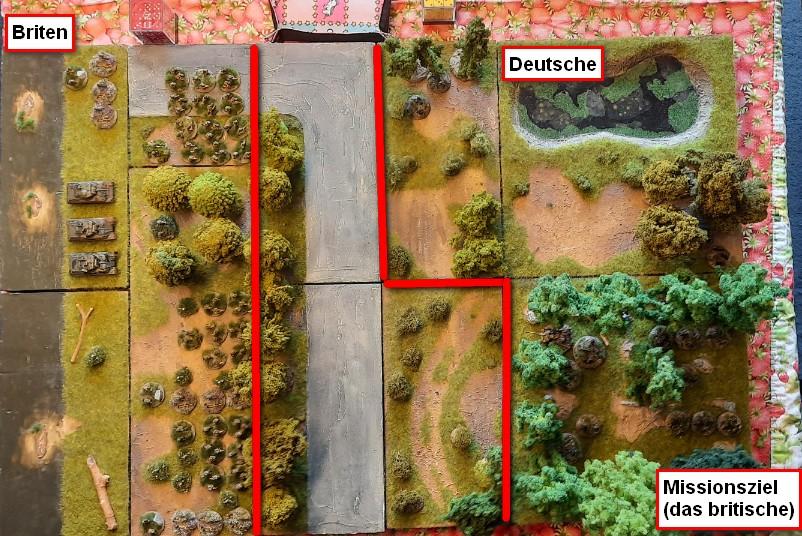 Das Spielfeld. Die Briten würden sicher ihre Schörmis über die Straße nach vorne rollen lassen. Darauf wareten die Panzerschreck-Schützen in vorderster Stellung sowie die Pak 40 im Wäldchen am Sümpfchen.