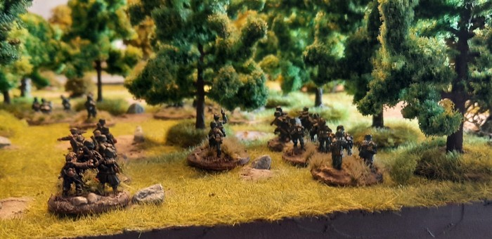 Hier die beiden Platoons im Wald.