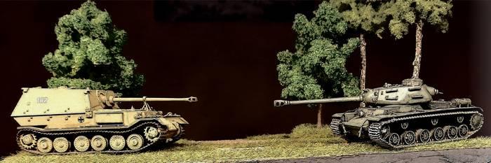 Panzerkampf: der doch recht zähe Elefant trifft auf einen Kontrahenten.